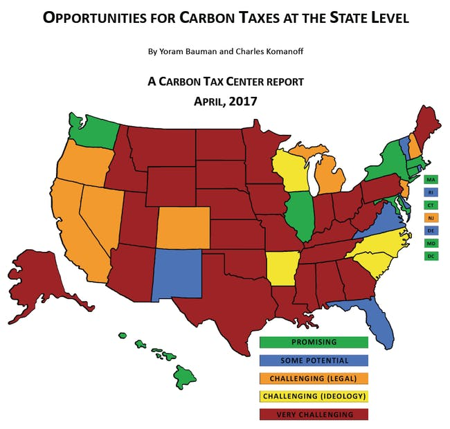 "In a lot of states, a carbon tax is ""very challenging."""