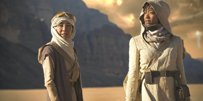 Michelle Yeoh as Captain Philippa Georgiou and Sonequa Martin-Green as First Officer Michael Burnham in 'Star Trek: Discovery'.