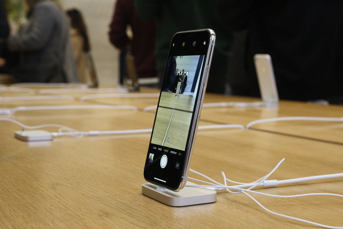 The Apple iPhone X on display.
