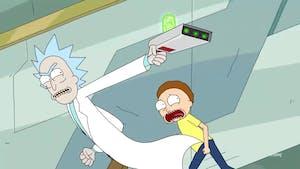 Rick and Morty use Rick's portal gun to escape enemies.
