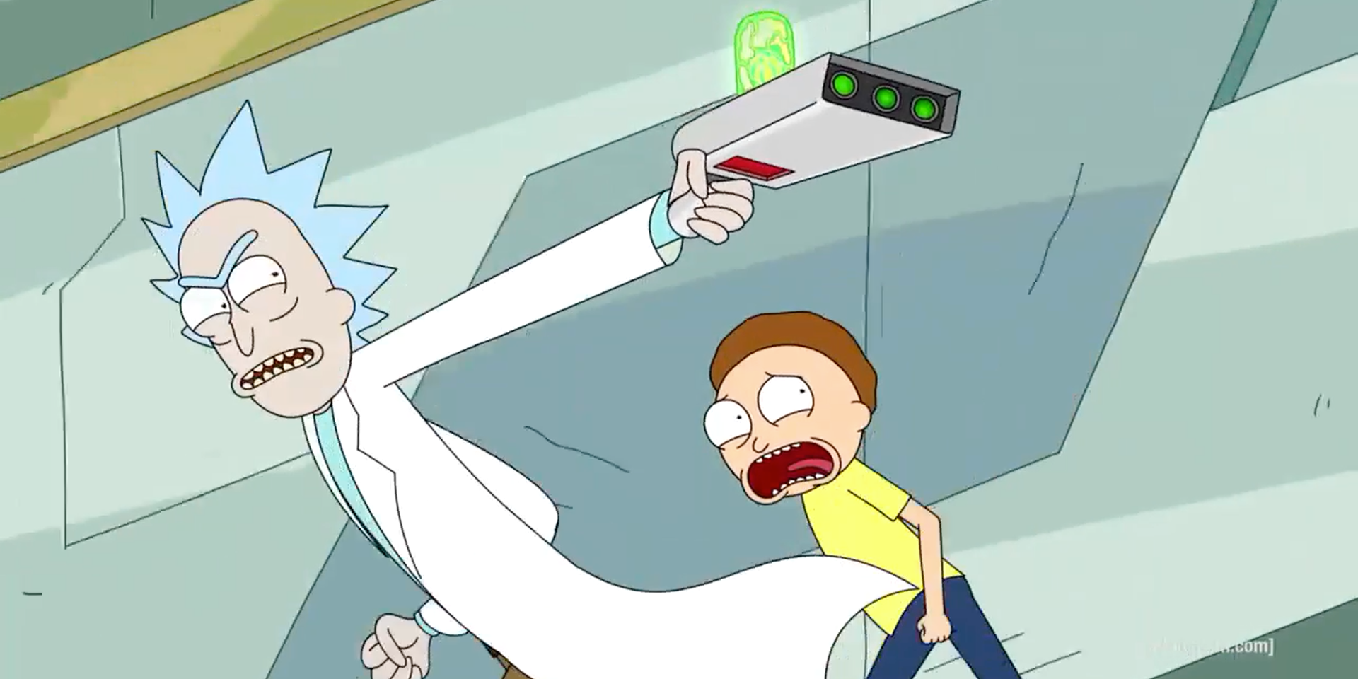 Rick And Morty Use Ricks Portal Gun To Escape Enemies