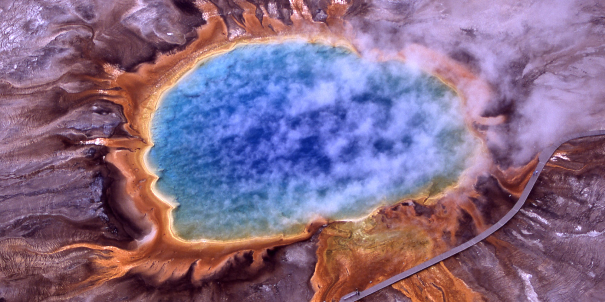 Aerial view of Grand Prismatic Spring; Hot Springs, Midway & Lower Geyser Basin, Yellowstone National Park.