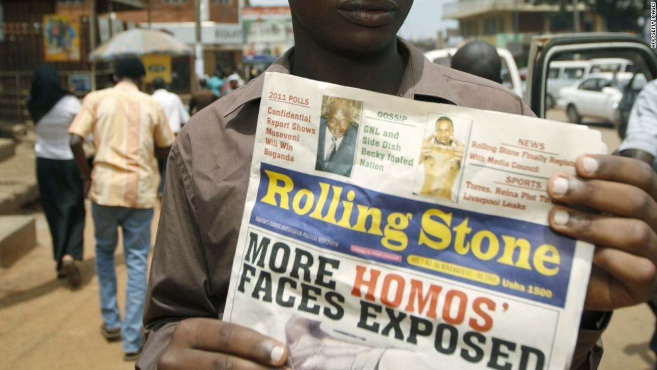 'Rolling Stone Uganda,' a tabloid paper unrelated to the American 'Rolling Stone,' celebrates the persecution of queer Ugandans in 2010.