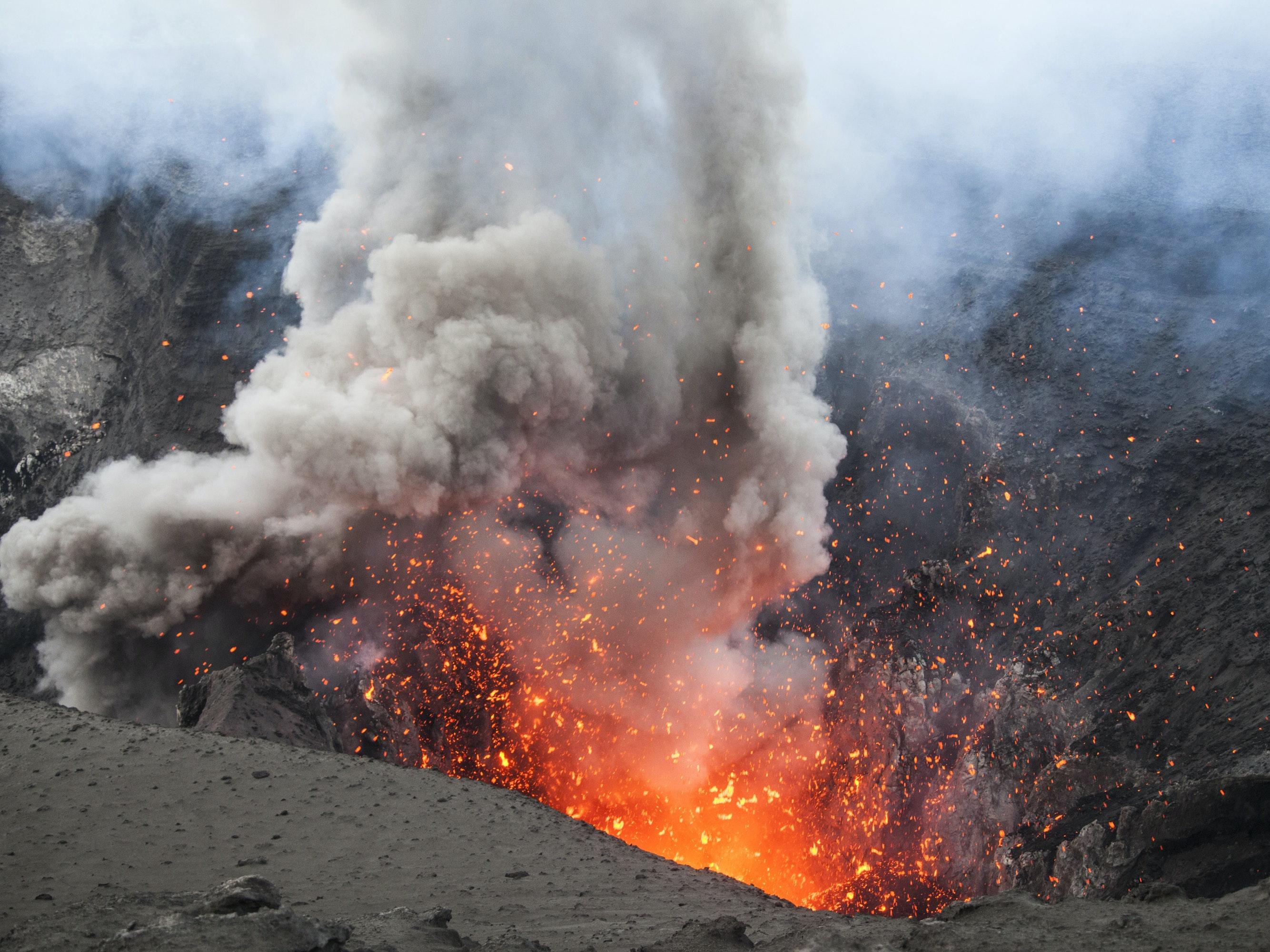 A Vanuatu volcano spews fiery magma.