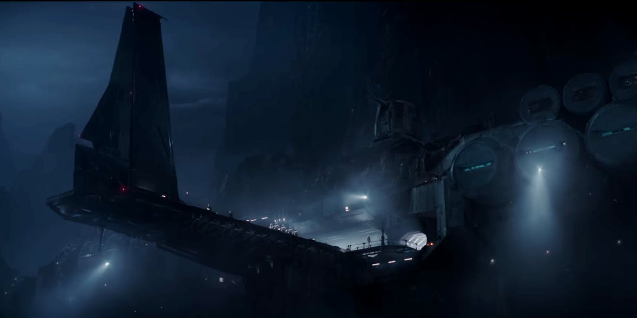 Palpatine's scientific research base emerges from the fog of Eadu in Rogue One