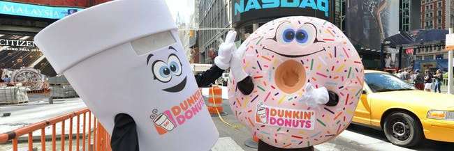 NEW YORK, NY - JUNE 06: Dunkin' Donuts mascots appear at the Dunkin' Donuts National Donut Day 2014 at NASDAQ on June 6, 2014 in New York City. (Photo by Slaven Vlasic/Getty Images for Dunkin' Donuts)