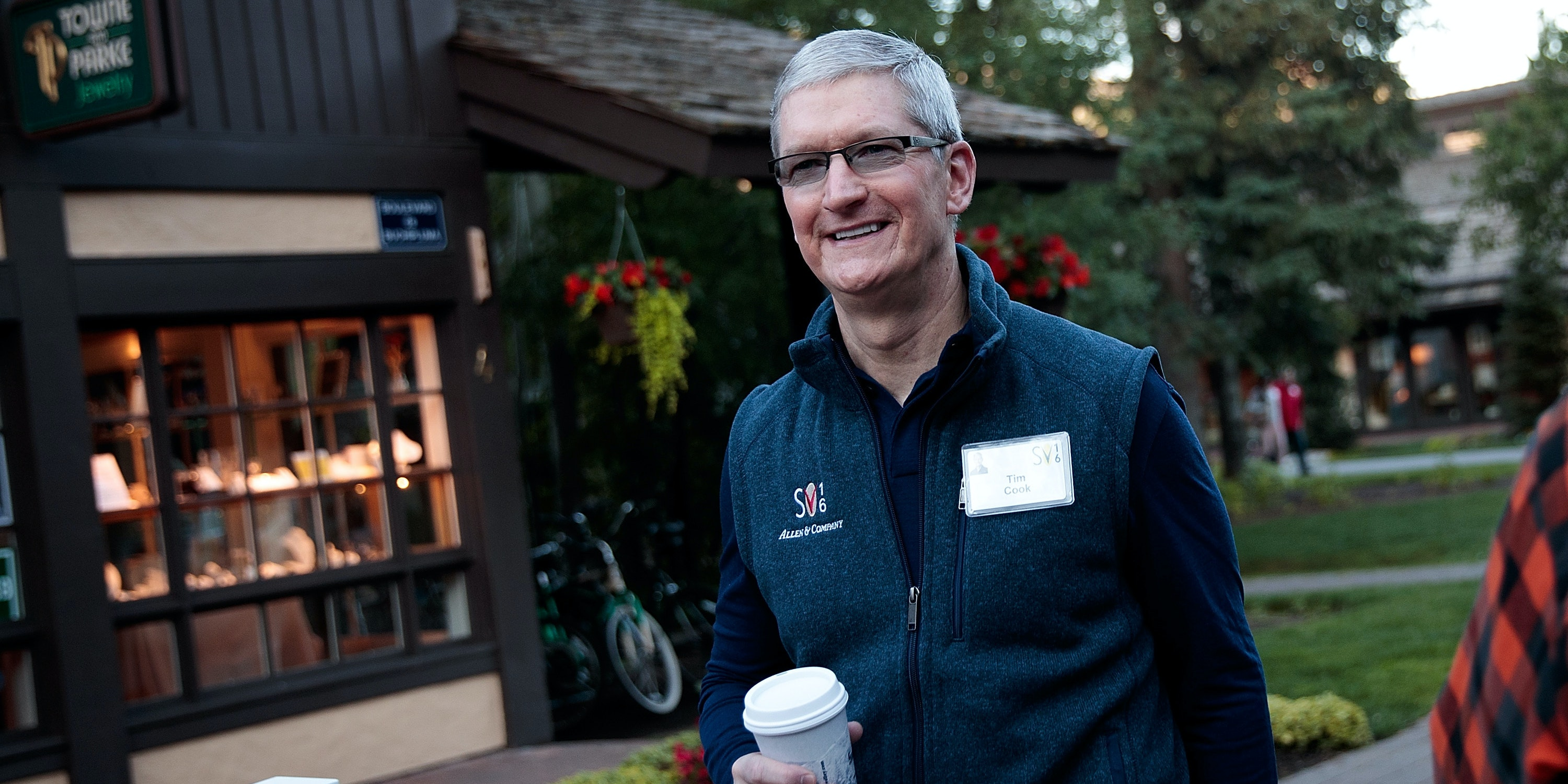 Tim Cook, chief executive officer of Apple Inc., attends the annual Allen & Company Sun Valley Conference, July 6, 2016 in Sun Valley, Idaho. Every July, some of the world's most wealthy and powerful businesspeople from the media, finance, technology and political spheres converge at the Sun Valley Resort for the exclusive weeklong conference.