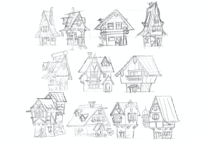 Gerben Steenks' sketches of traditional German houses.