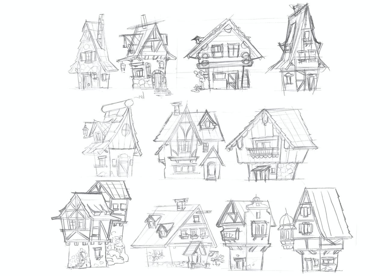 Gerben Steenks' sketches of traditional German houses.