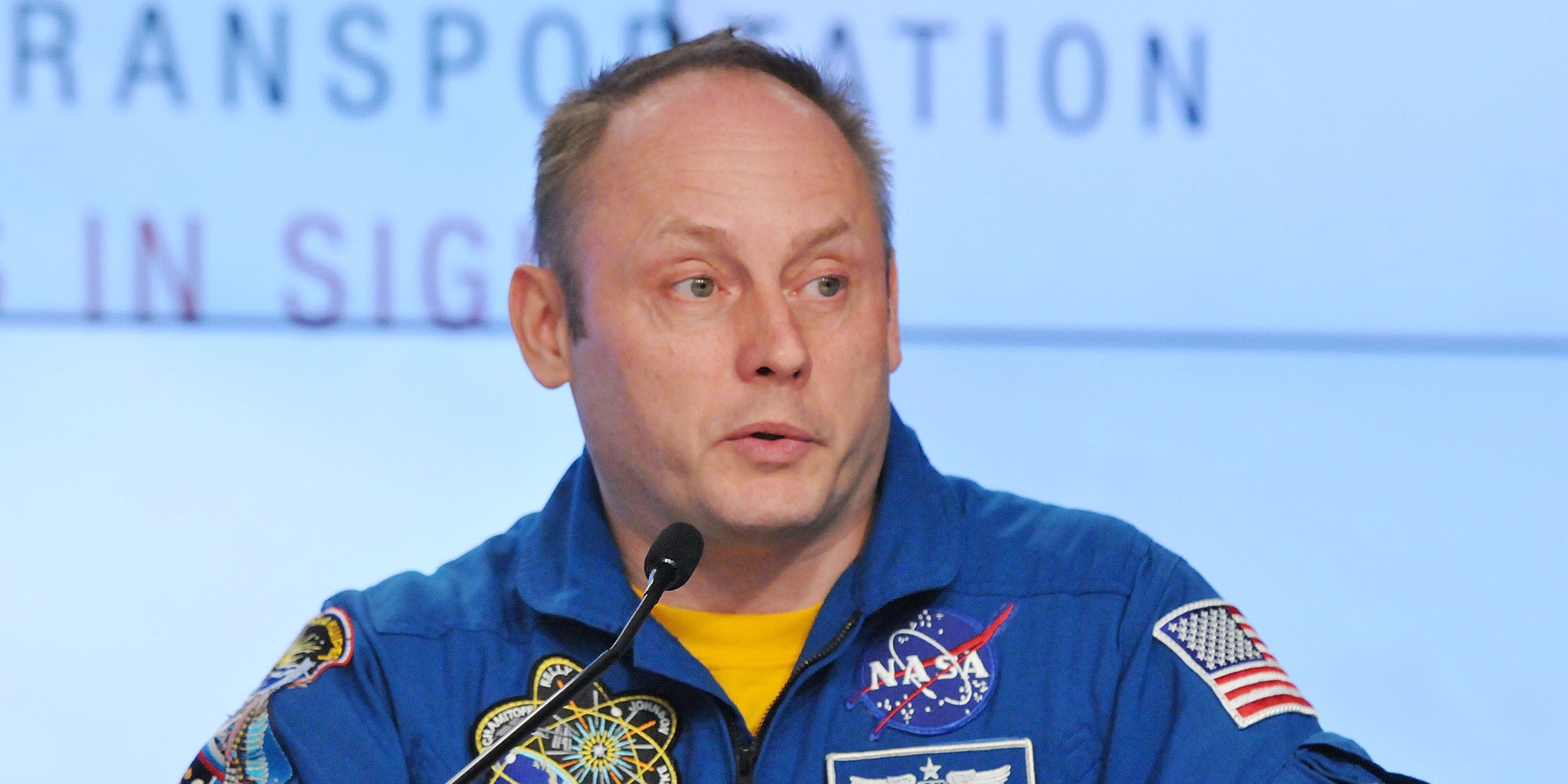 CAPE CANAVERAL, FL - SEPTEMBER 16:  Astronaut Mike Fincke speaks during a NASA press conference at the Kennedy Space Center on September 16, 2014 in Cape Canaveral, Florida. NASA announced the return of human spaceflight launches to the United States.  (Photo by Gerardo Mora/Getty Images)