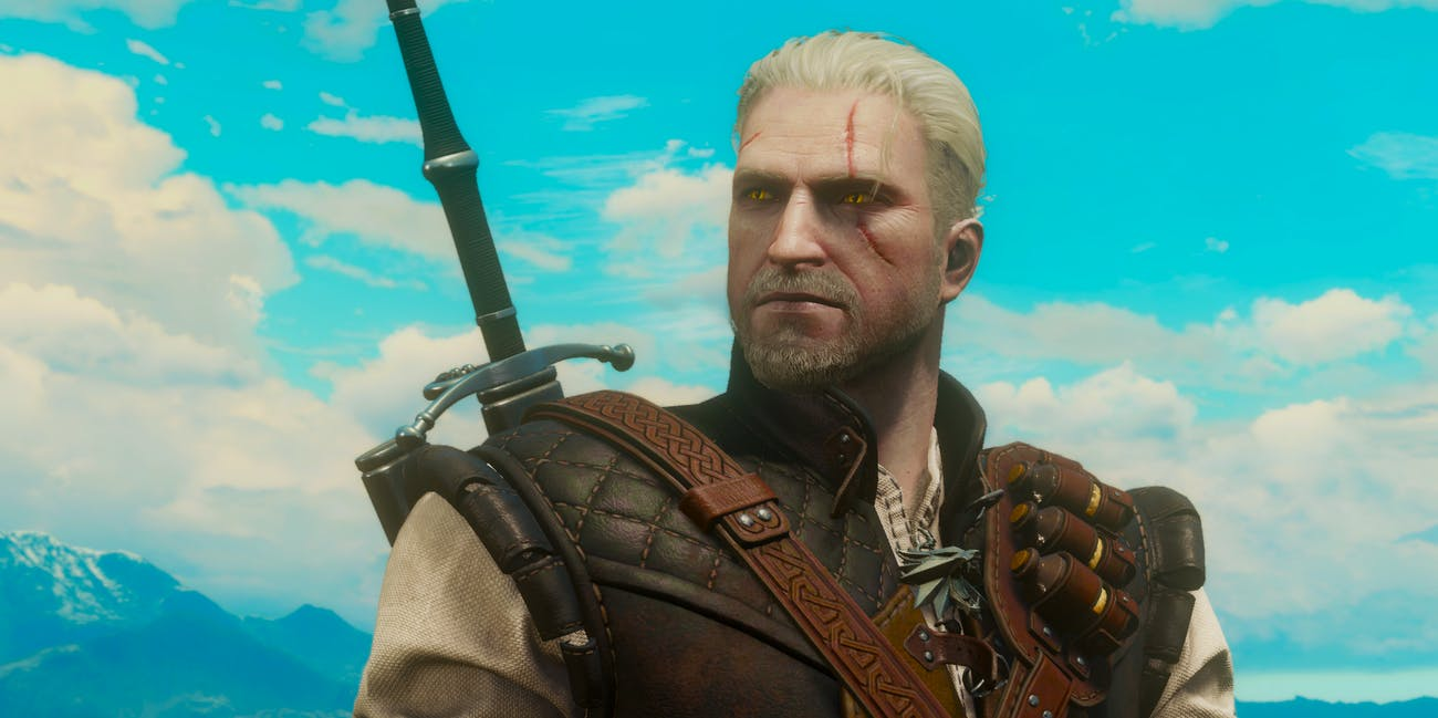 Geralt of Rivia has bright white hair and golden eyes in 'The Witcher'.