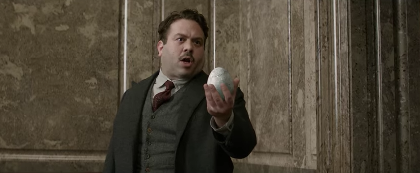Jacob holding what could be a Phoenix egg in 'Fantastic Beasts and Where to Find Them'