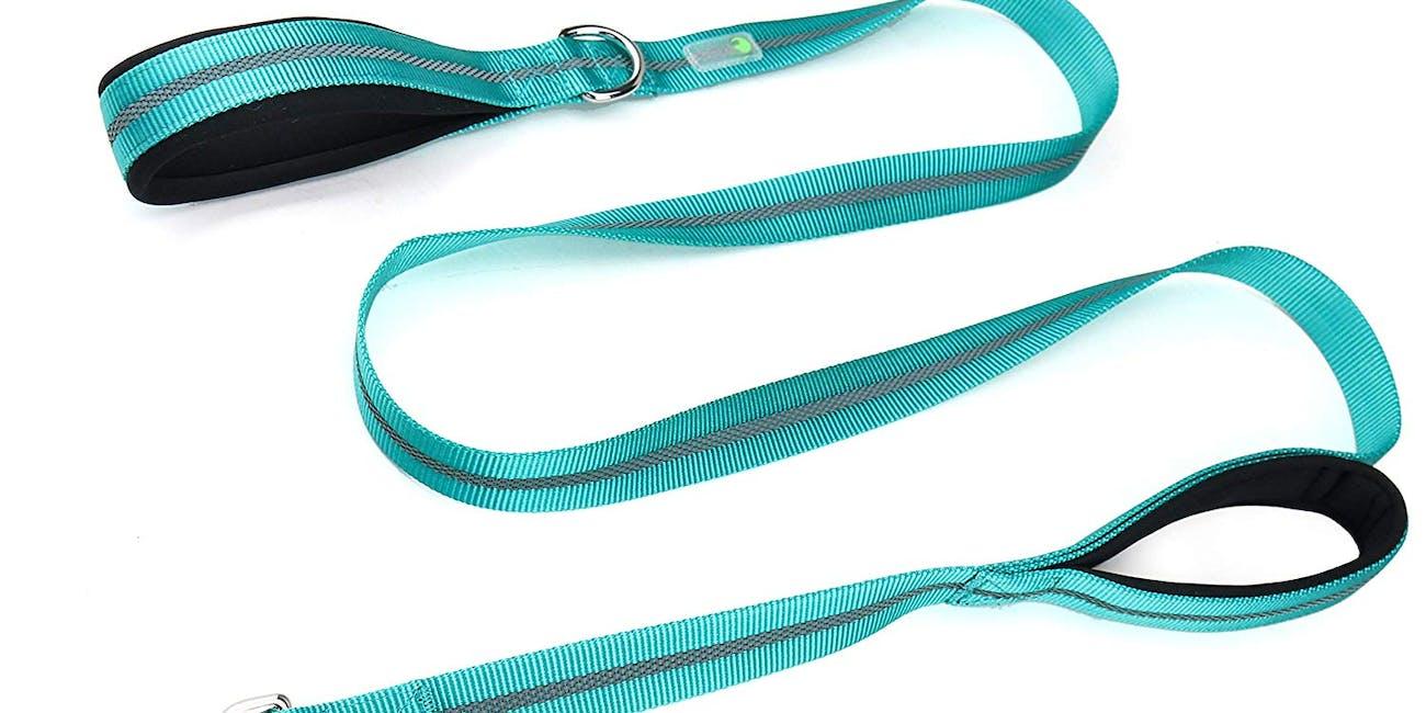 DCbark Dual Handle Lead, Double Padded Traffic Handle Dog Leash