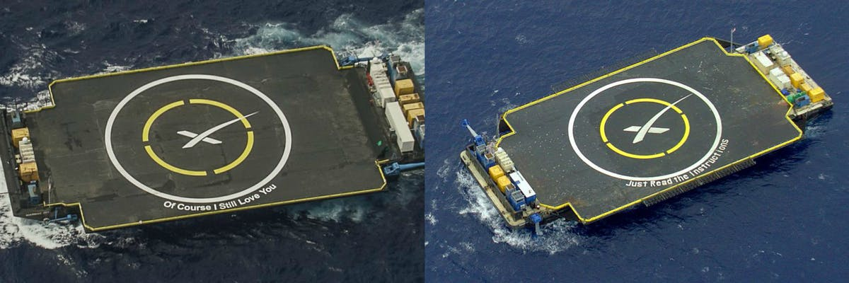 SpaceX droneships 'Of Course I Stil Love You' and 'Just Read the Instructions'