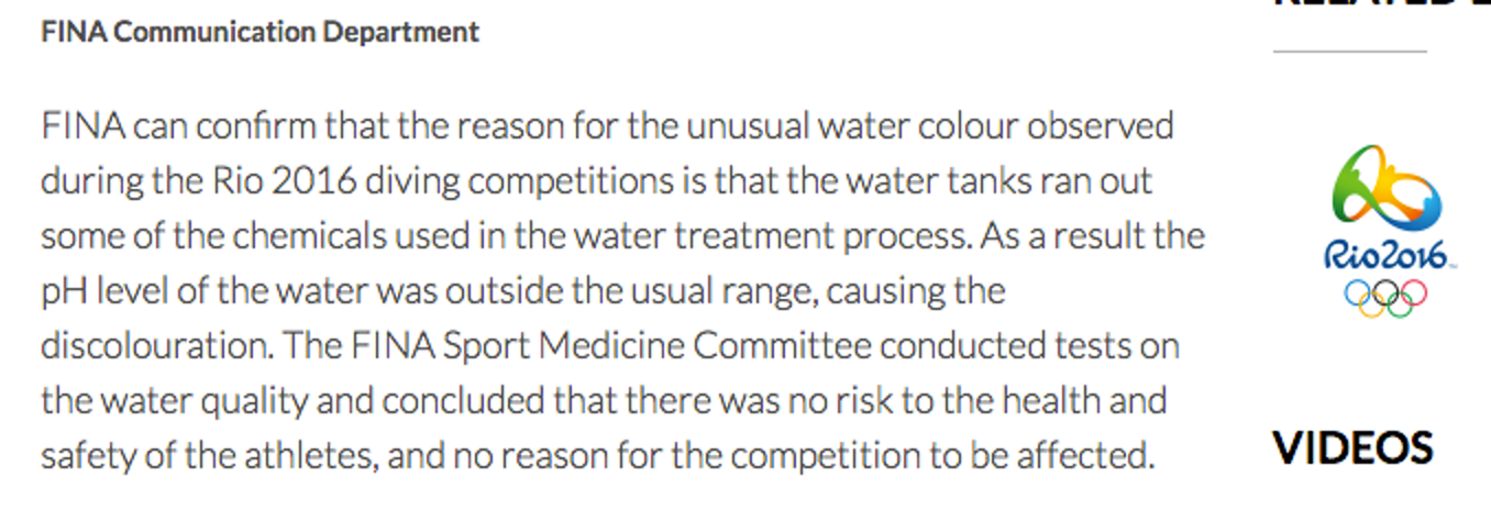 This is the entire official statement from FINA, which is the organization in charge of Olympic water sports.