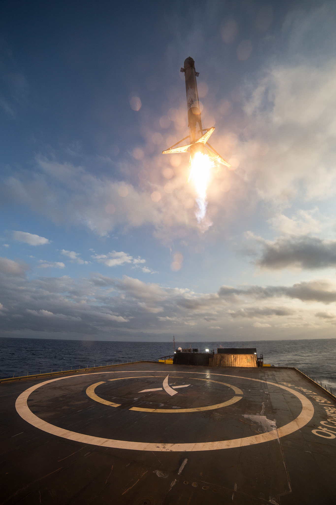The rocket coming in for landing.