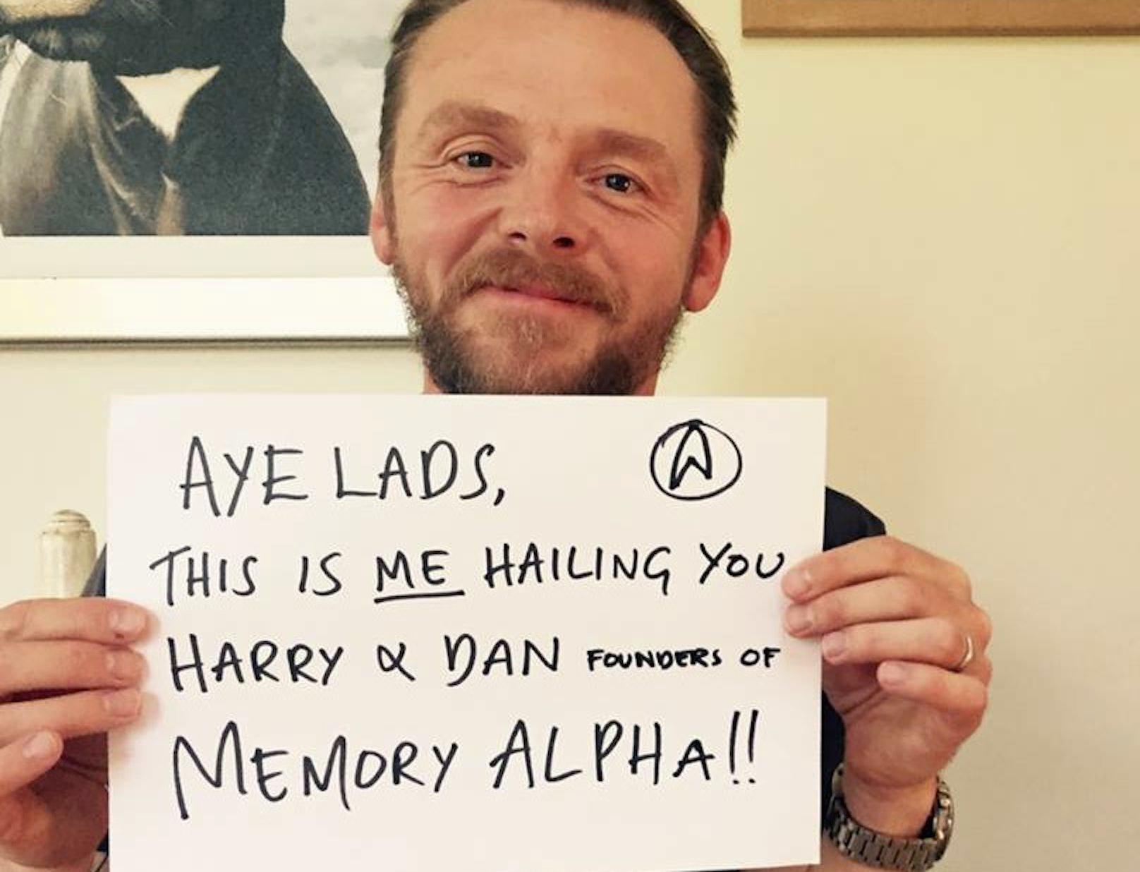 Simon Pegg emailing Memory Alpha
