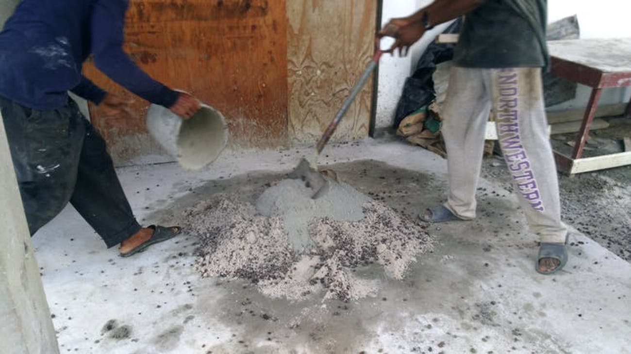 Ferrocement mix being prepared in Grenada.