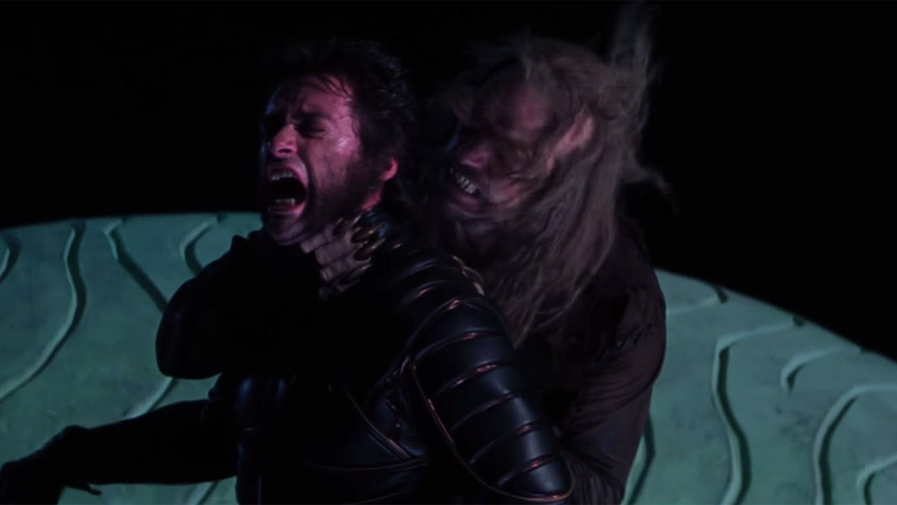 Wolverine and Sabretooth fighting in 'X-Men' (2000).
