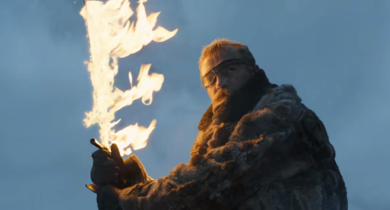 That flaming sword definitely isn't Heartsbane, but who's to say what happens next season?