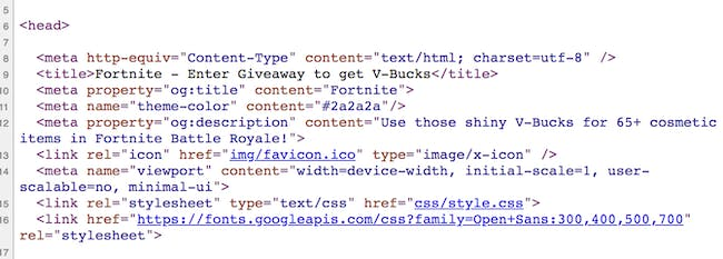 Fake 'Fortnite' Android site source code