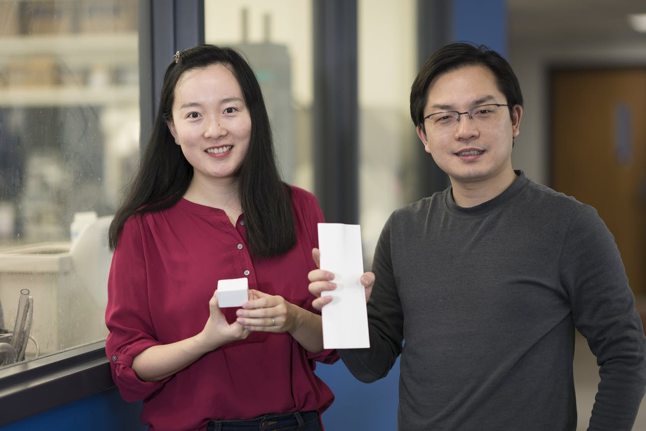 Tian Li (left) and Liangbing Hu (right) demonstrating their nanowood product.
