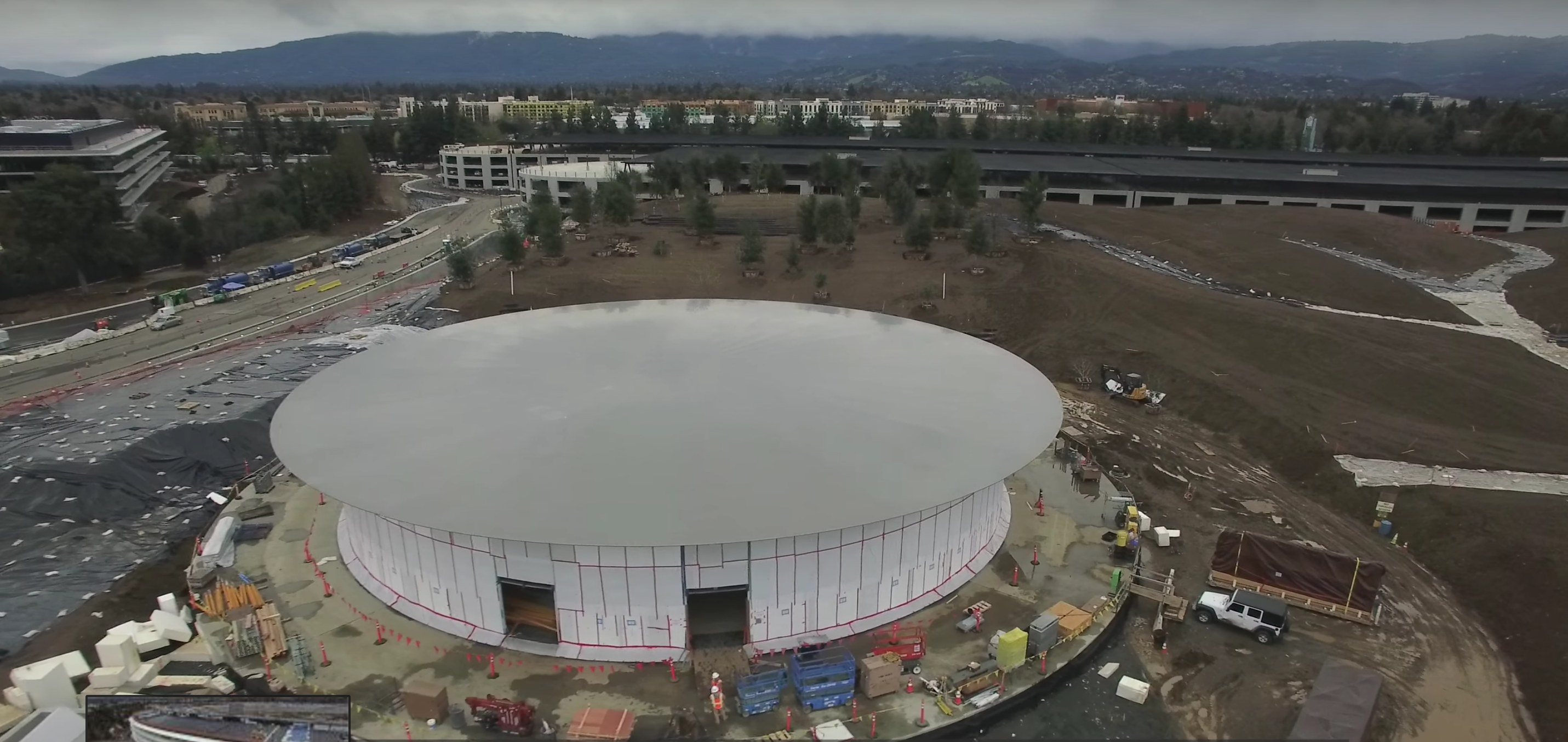A roof has been built over Apple Campus 2's auditorium.