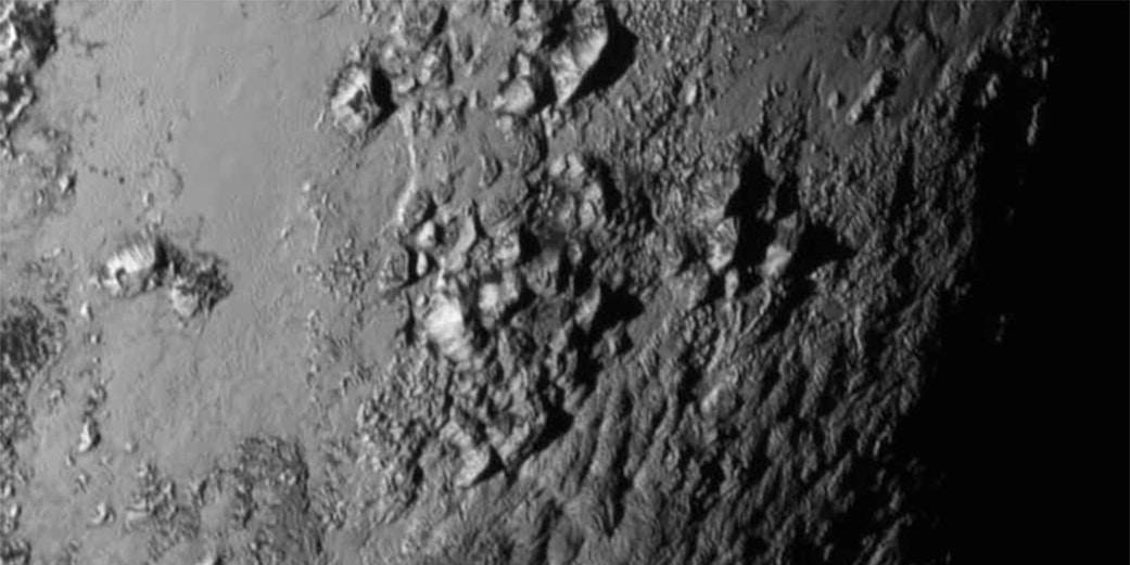 Pluto's equatorial region, captured by New Horizons cameras.