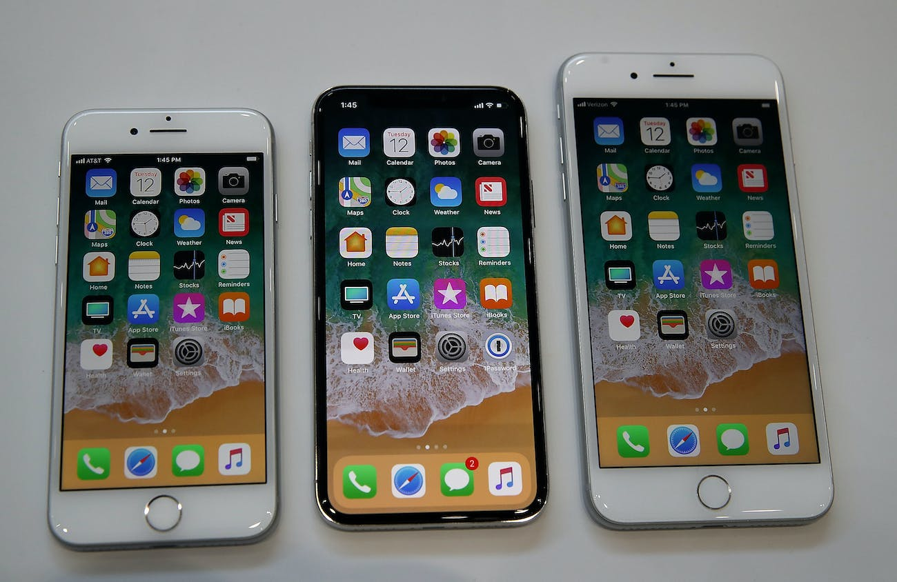 The iPhone 8, X and 8 Plus.