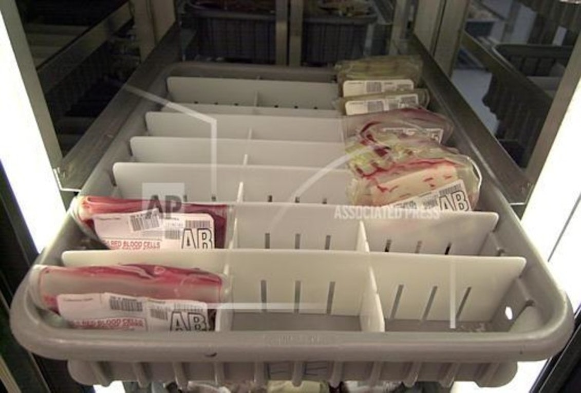 A partially empty tray of units of AB-type red blood cells is seen in a refrigerated shortage unit in the American Red Cross Blood Services building in Philadelphia Oct. 28, 2003. The Red Cross has had officials traveling the country since May trying to step up donations to overcome a worse-than-usual blood shortage.