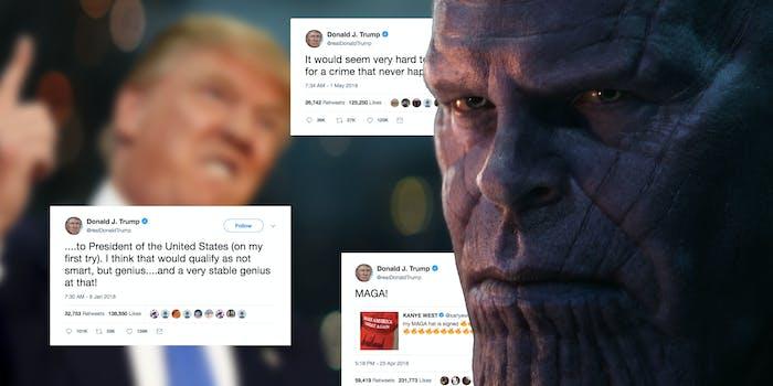 Donald Trump Thanos Tweets Josh Brolin