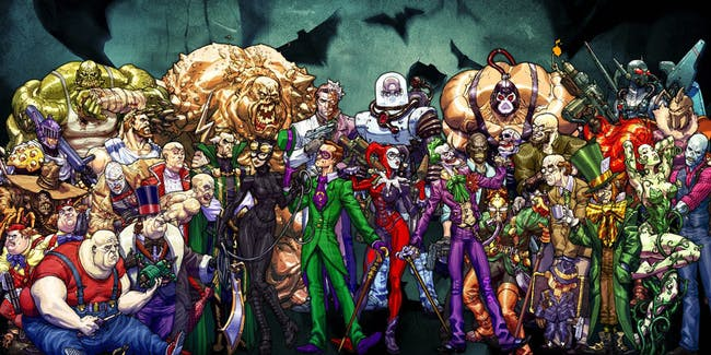 Illustrated Batman Villains from Rocksteady's Batman Arkham Asylum