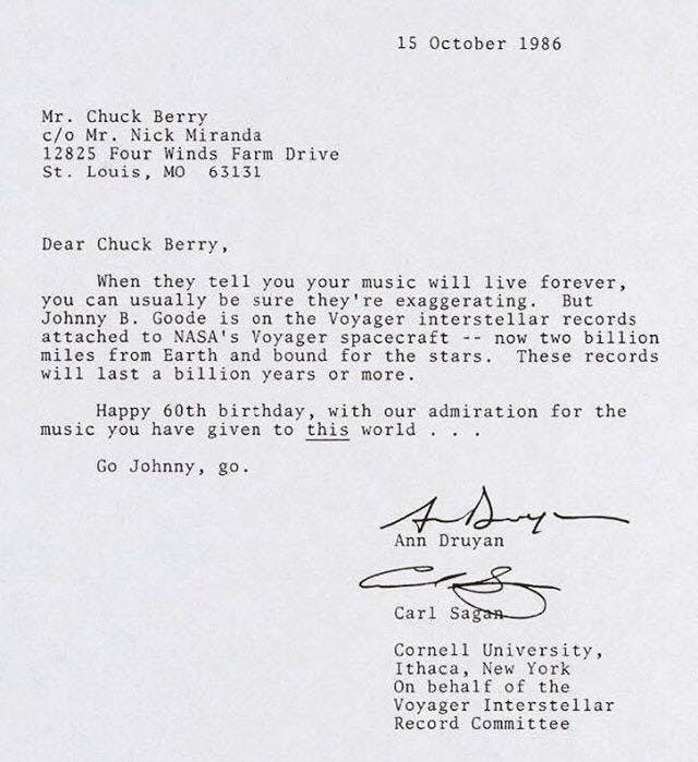 Carl Sagan wrote this letter to Chuck Berry on the musician's 60th birthday to tell him just how important his music was to humanity. Berry died on March 18, 2017.