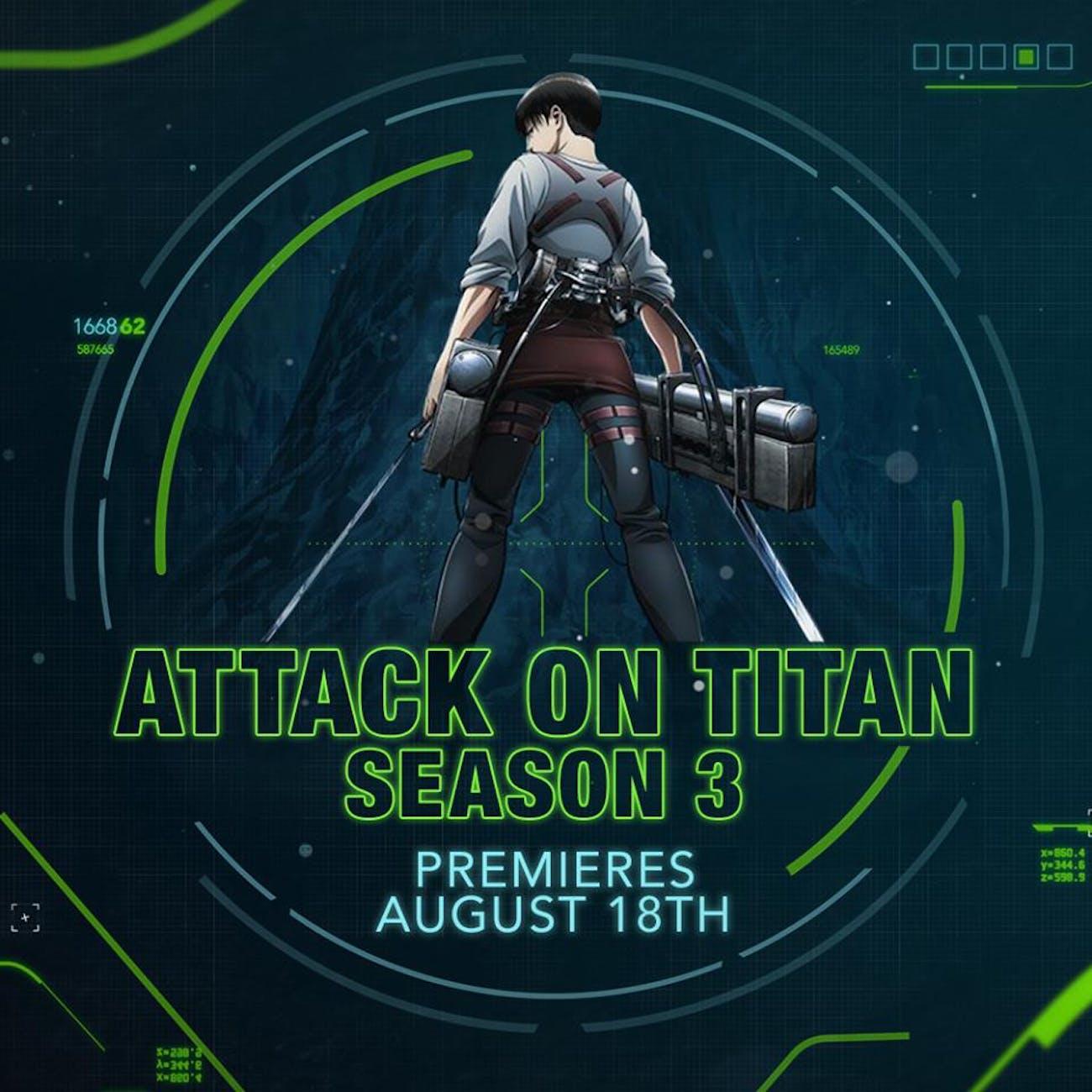 'Attack on Titan' Season 3 English dubs will air on Toonami starting August 18.