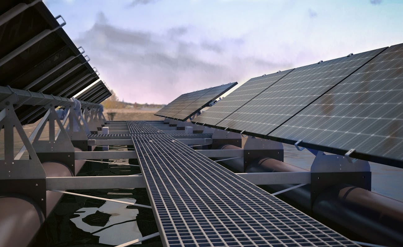 Floating solar panels in operation