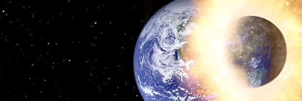 A planet collides with Earth
