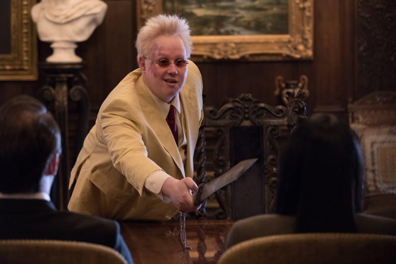 Matt Lucas as the assassin boss Blut in 'Polar.