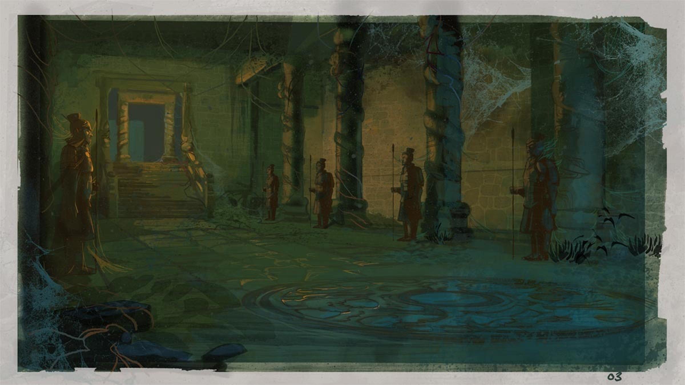 Artist Patrick Shoenmaker's temple designs for 'The Adventures of Indiana Jones'