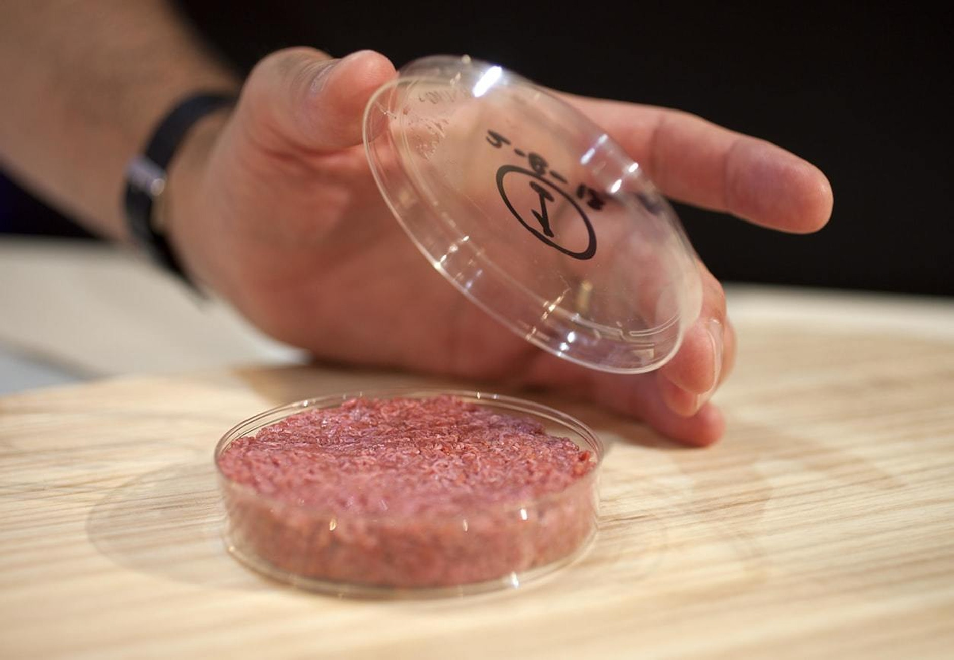A burger grown in a petri dish using cow muscle stem cells.