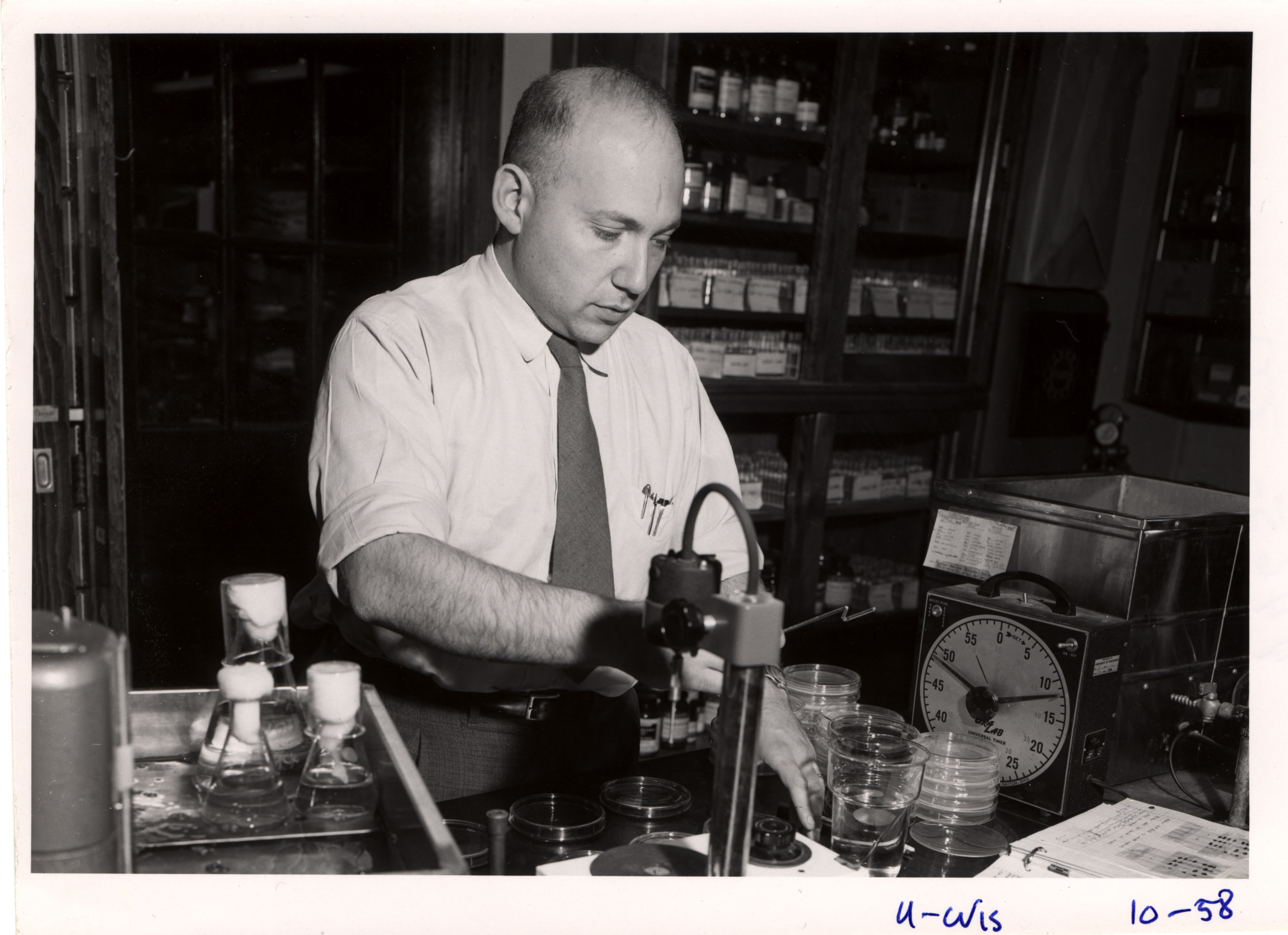 Molecular biologist, Joshua Lederberg, in his lab.