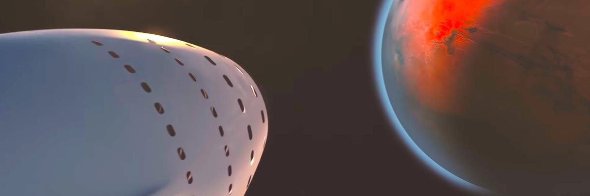 'Heard of Gold' approaches Mars in this SpaceX animation.