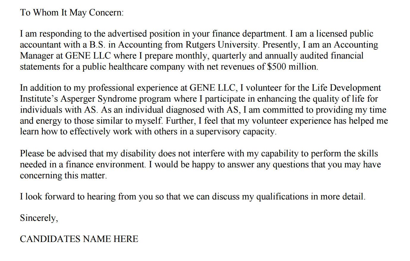 accounting firm cover letters