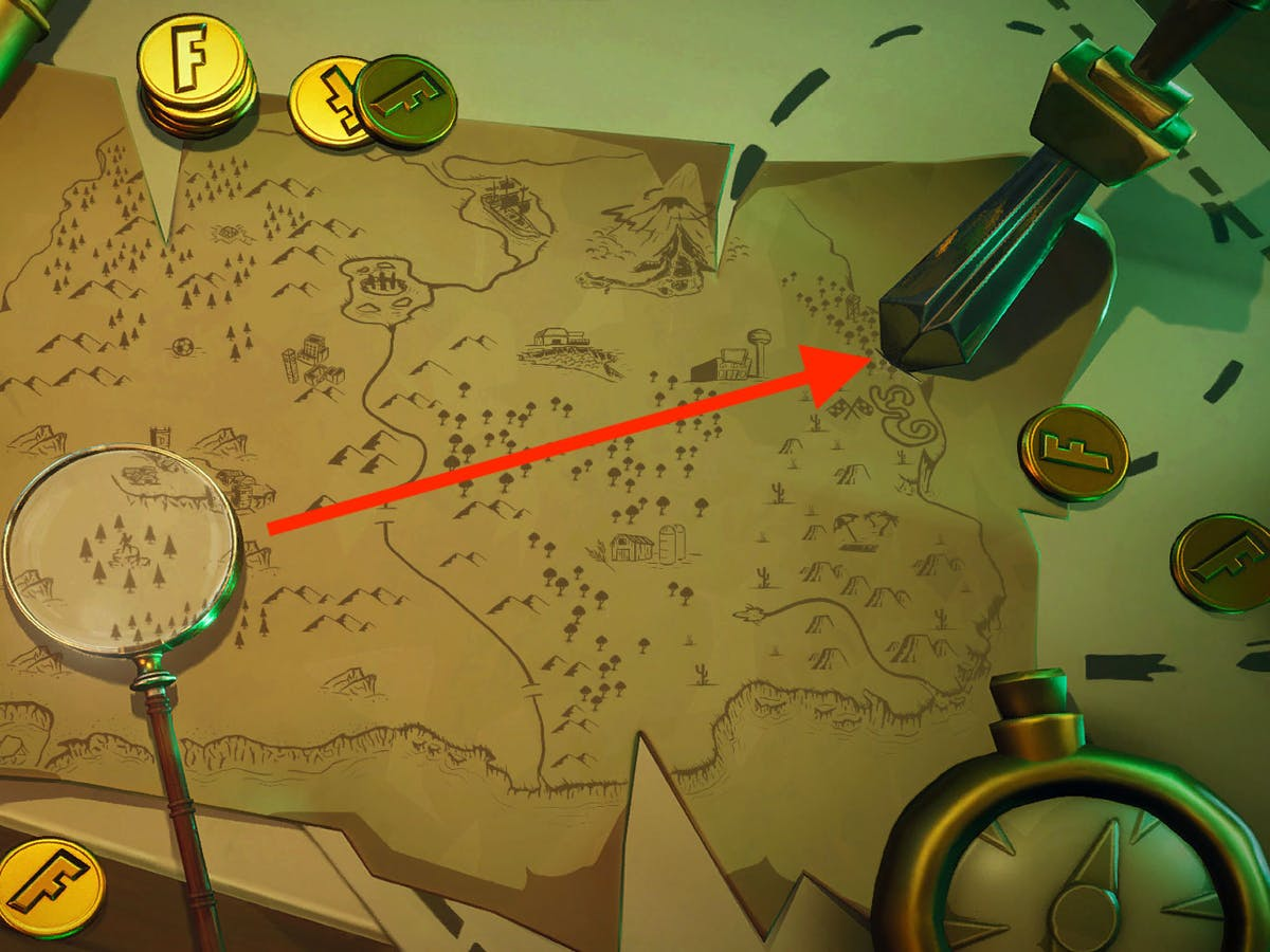 - search where knife points on treasure map loading screen fortnite
