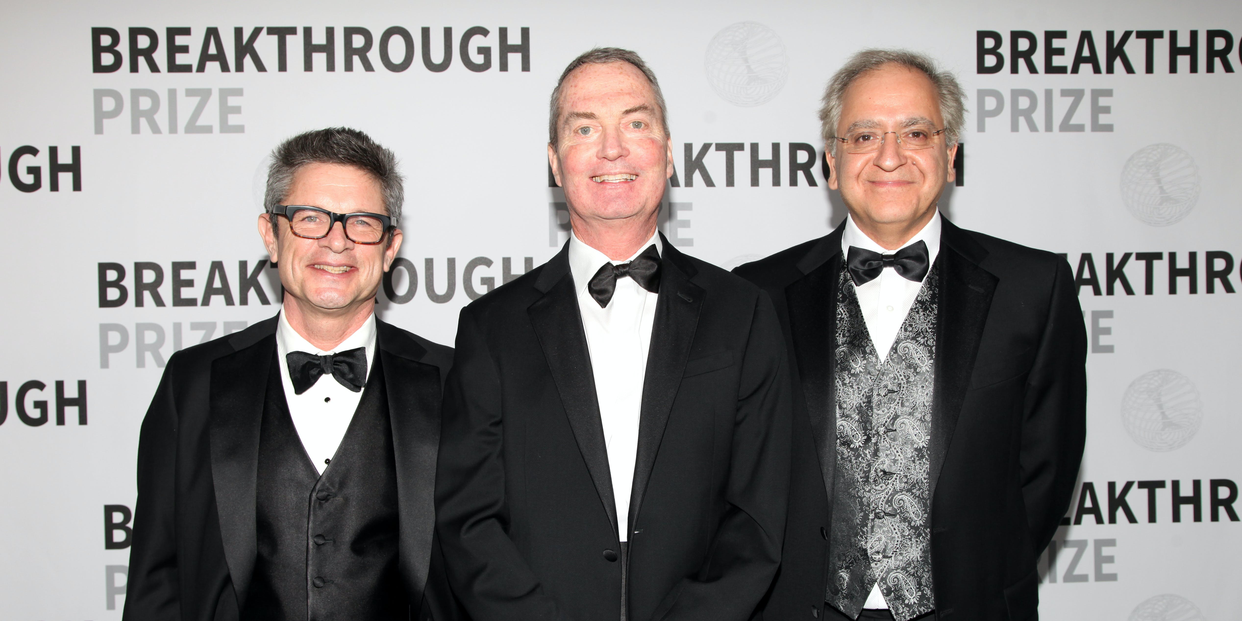 MOUNTAIN VIEW, CA - DECEMBER 04:  (L-R)  Physicist Andrew Strominger, Dr. Cumrun Vafa and 2017 Breakthrough Prize winner Dr. Joseph Polchinski backstage during the 2017 Breakthrough Prize at NASA Ames Research Center on December 4, 2016 in Mountain View, California.  (Photo by Kelly Sullivan/Getty Images for Breakthrough Prize)