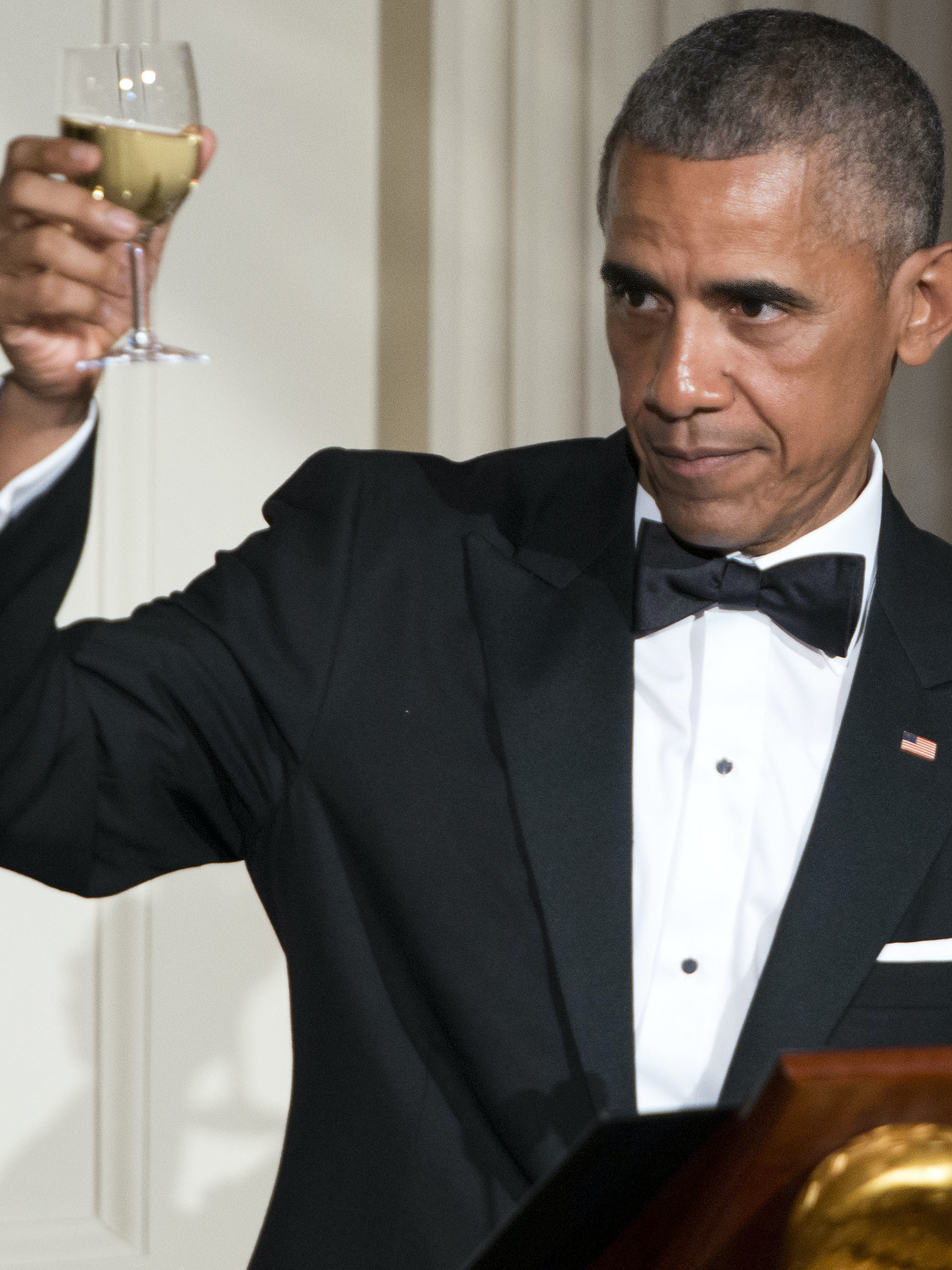 WASHINGTON, DC - AUGUST 02: President Barack Obama makes a toast in honor of Prime Minister Lee Hsien Loong in the East Room of the White House on August 2, 2016 in Washington, DC. The Obamas are hosting the prime minister and his wife for an official state dinner.  (Photo by Leigh Vogel-Pool/Getty Images)