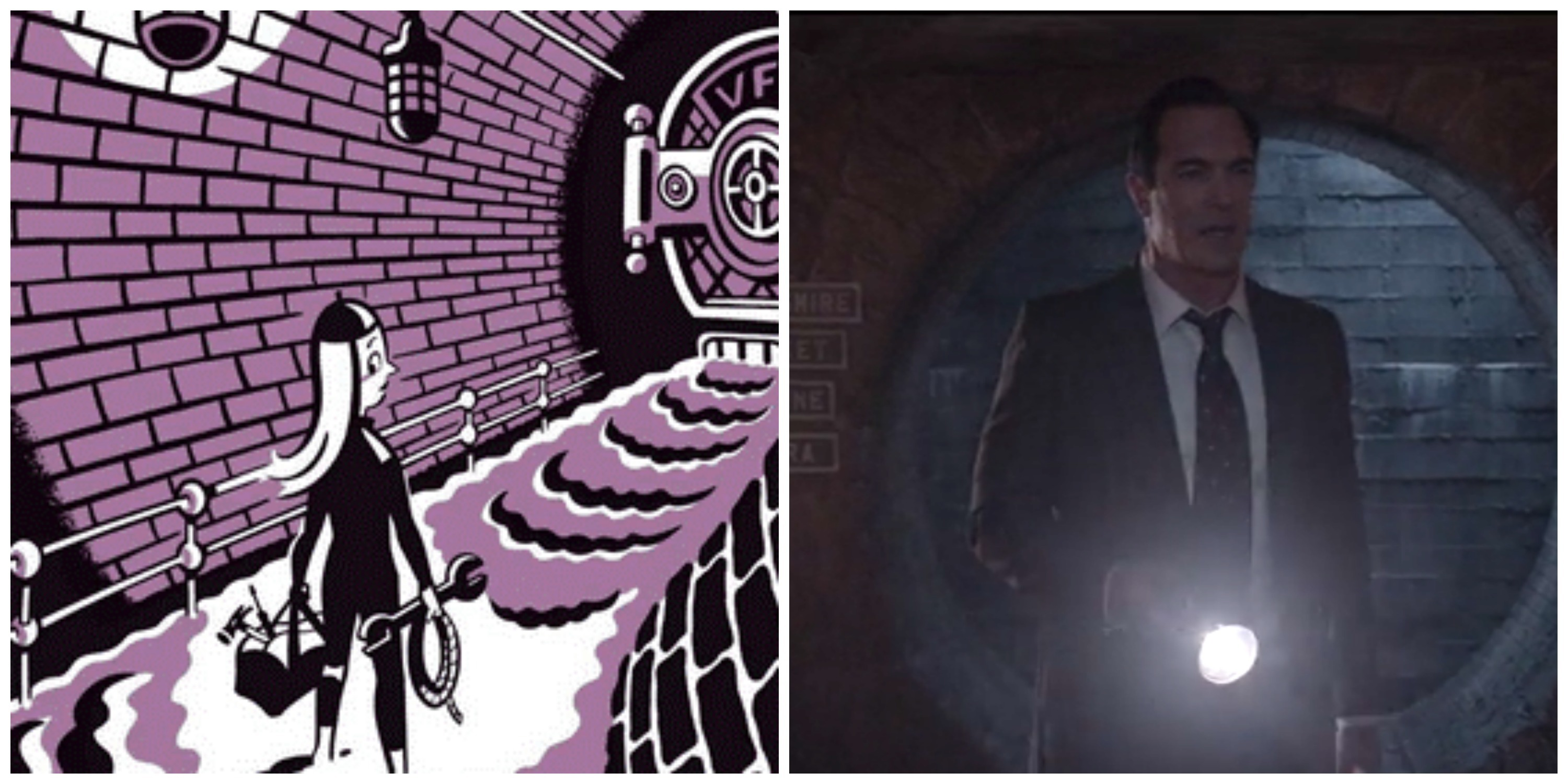 """LEFT: Art by Seth from 'All the Wrong Questions."""" RIGHT: Lemony Snicket in 'A Series of Unfortunate Events.'"""