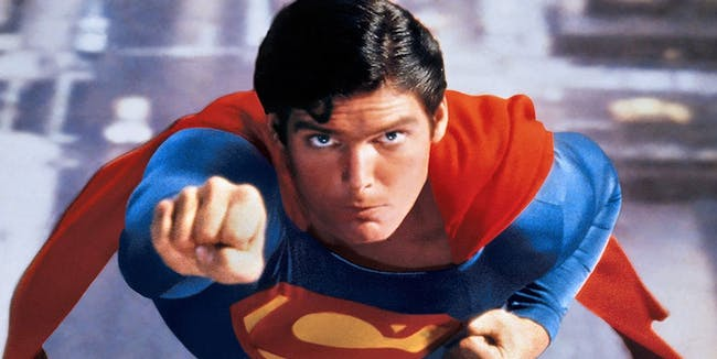 Christopher Reeve as Superman.