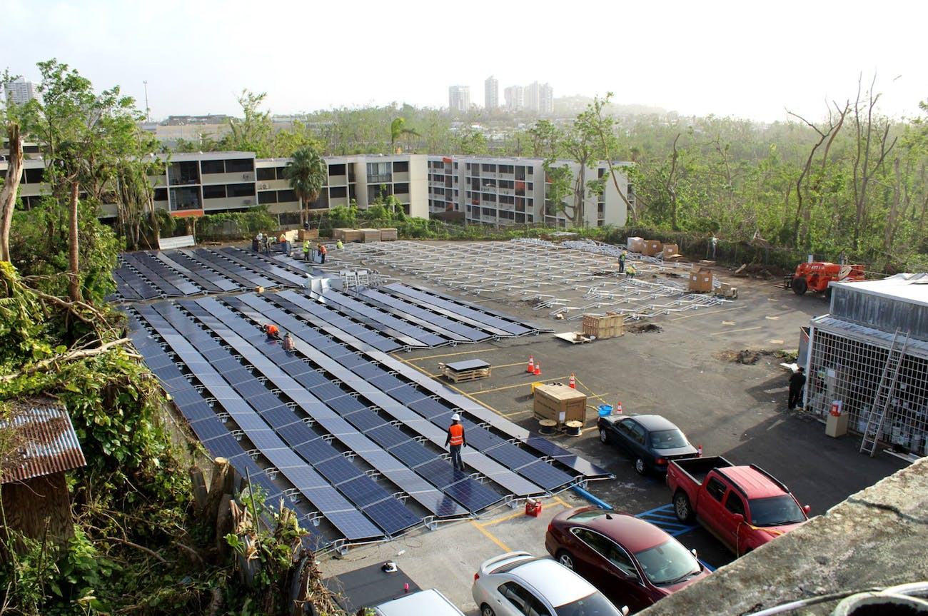 The solar panels installed.