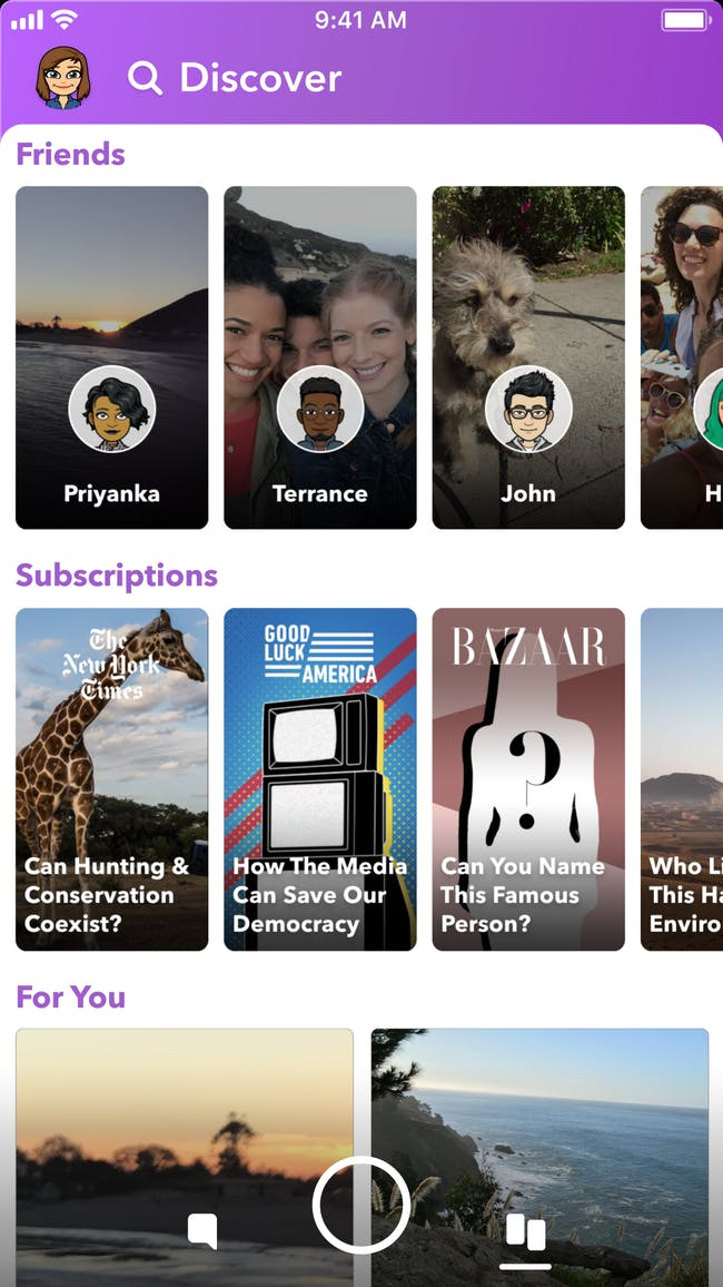 The new Discover and Subscriptions options