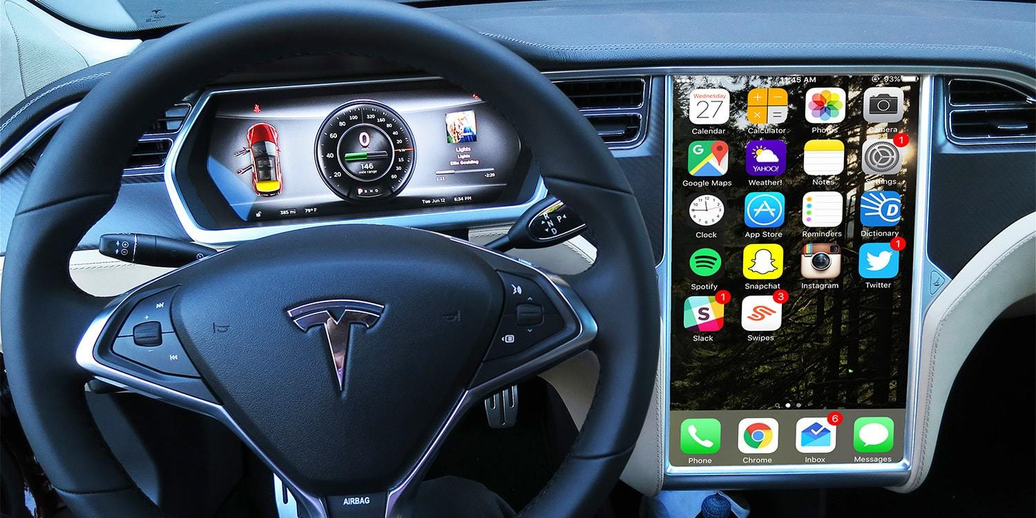 Artist's rendering of what your Tesla car might look like if you're an iPhone owner.